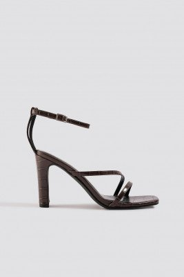 NA-KD Shoes NA-KD Shoes Croco Strappy Flat Heel Sandals - Brown
