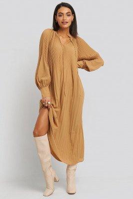 NA-KD Trend NA-KD Trend Tie Neck Pleated Dress - Beige