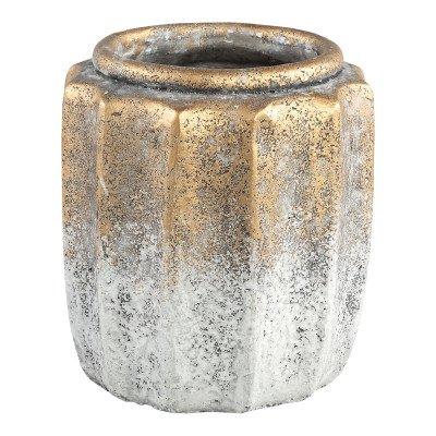 Firawonen.nl Ptmd elodie goud cement geribbelde pot rond hoog