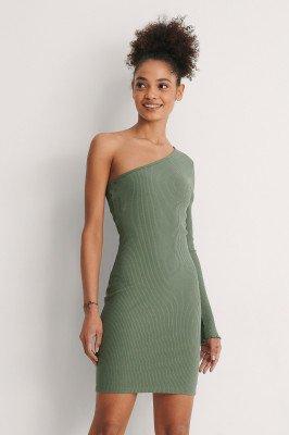 NA-KD NA-KD Organisch Mini-jurk Met Blote Schouder - Green