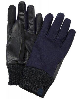 Profuomo Profuomo heren navy leren handschoenen met gebreide manchet