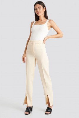 NA-KD Classic NA-KD Classic Front Slit Suit Trousers - White,Beige