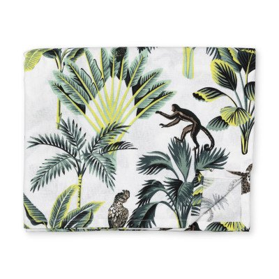 Xenos Tafelkleed jungle - wit - 240x140 cm