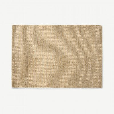 MADE.COM Mumbi vloerkleed van wol en jute, groot, 160 x 230 cm, lichtbeige