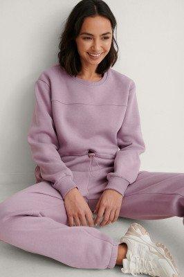 NA-KD NA-KD Organisch Organisch Geborstelde Cropped Sweatshirt - Purple
