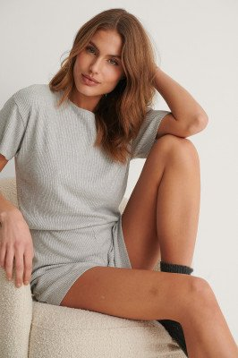 NA-KD Lingerie NA-KD Lingerie Ribbed Playsuit Pyjamas - Grey