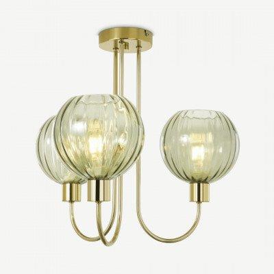 MADE.COM Tilbury plafondlamp, groen glas en antiek messing