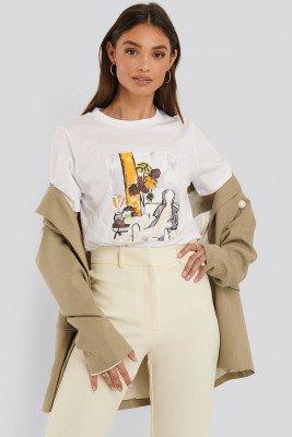 NA-KD T-Shirt Met Print - White
