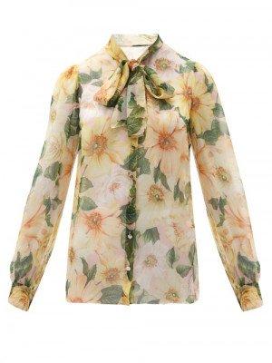 Matchesfashion Dolce & Gabbana - Pussy-bow Camellia-print Silk-chiffon Blouse - Womens - Yellow Multi
