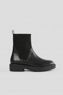 NA-KD Shoes Chelsealaarzen Met Elastische Schacht - Black
