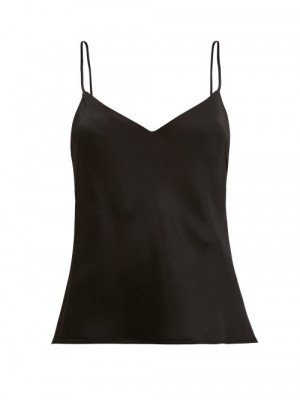 Matchesfashion Galvan - V-neck Satin Cami Top - Womens - Black