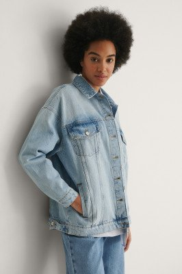 NA-KD NA-KD Organisch Oversized Jeansjack - Blue