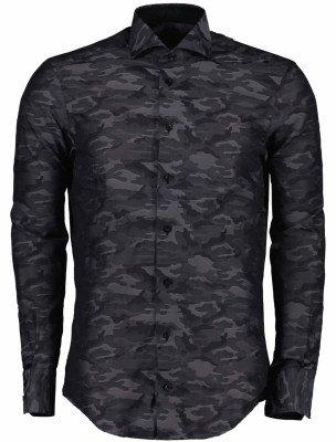 Cavallaro Napoli Cavallaro Napoli Heren Overhemd - Bando overhemd - Charcoal