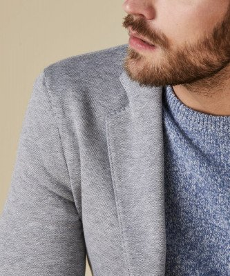 Profuomo Profuomo heren licht grijs knitted colbert