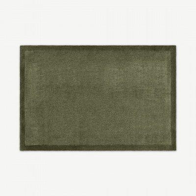 MADE.COM Jago vloerkleed met rand, X Large 200 x 300cm, mosgroen