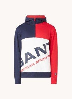Gant Gant Hoodie met halve rits en logoprint