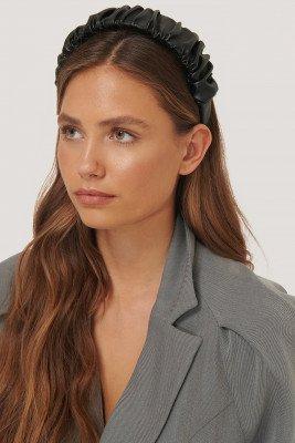 NA-KD Accessories Pu-Haarband Met Ruches - Black