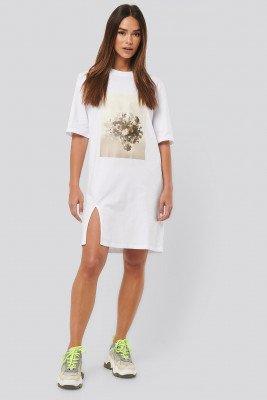 NA-KD NA-KD Printed Side Slit Tee Dress - White