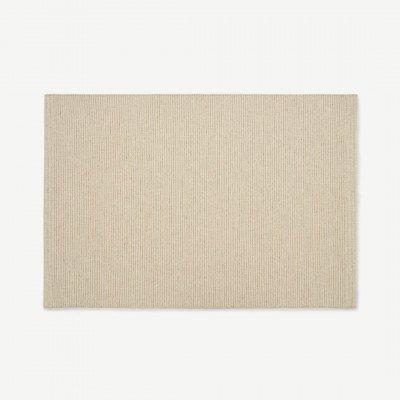 MADE.COM Mellis geweven vloerkleed, wolmix, groot, 160 x 230 cm, lichtbeige gestreept