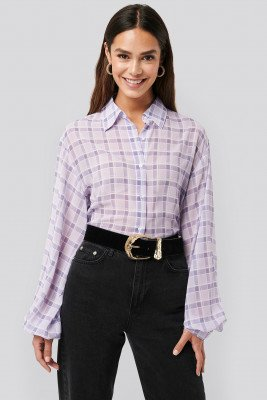 NA-KD Trend NA-KD Trend Plaid Sheer Blouse - Purple