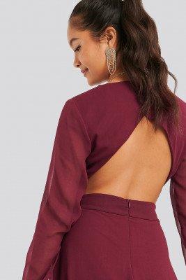 NA-KD Cut Out Back Chiffon Mini Dress - Red
