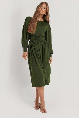 NA-KD Trend Gathered Waist Jersey Dress - Green