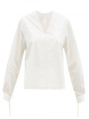 Matchesfashion Toogood - Bellringer V-neck Cotton-poplin Top - Womens - Ivory
