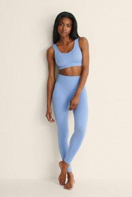 Mango MANGO Geribbelde En Elastische Legging - Blue