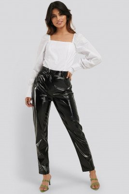 NA-KD Party Straight Leg Patent Pants - Black