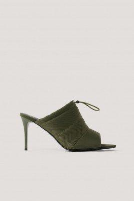 NA-KD Shoes NA-KD Shoes Spitse Peeptoe Hakken Met Trekkoord - Green
