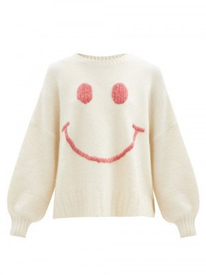 Joostricot - Smiling Face-embroidered Merino Wool-blend Sweater - Womens - Ivory