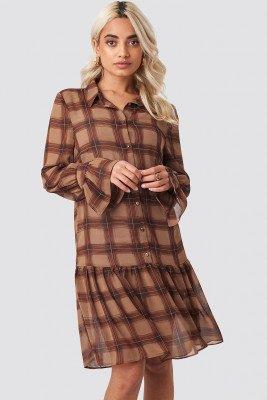 NA-KD Trend Checked Chiffon Shirt Dress - Brown