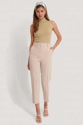NA-KD Classic Cropped Pantalon Met Hoge Taille - Beige