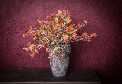Firawonen.nl PTMD garden bloem red sedum met bladeren tak