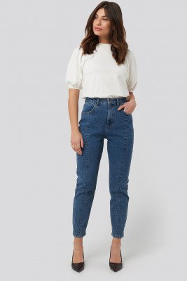 NA-KD NA-KD Front Seam Mom Jeans - Blue