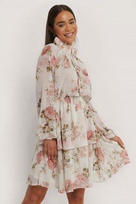 NA-KD Boho High Frill Neck Dress - Multicolor