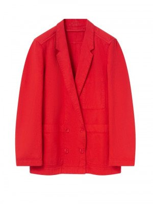 Matchesfashion Lemaire - Double-breasted Denim Jacket - Womens - Red