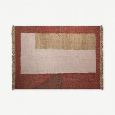 MADE.COM Halesia vloerkleed van jute, groot, 160 x 230 cm, terracotta