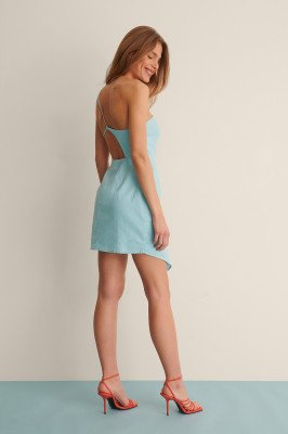 Curated Styles Curated Styles Mini-Jurk Van Linnenmix - Blue