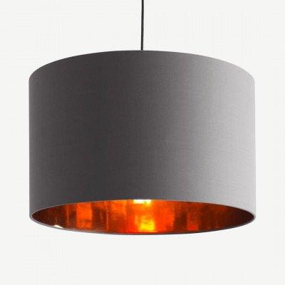 MADE.COM Oro extra grote lampenkap, grijs en koper