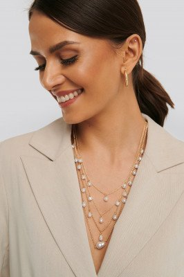 NA-KD Accessories Layered Uneven Pearl Necklace - Gold