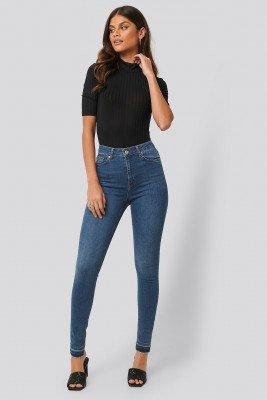 NA-KD NA-KD Skinny High Waist Open Hem Jeans Tall - Blue