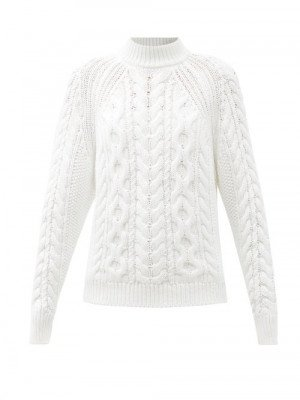 Matchesfashion Cecilie Bahnsen - Frederica Open-back Cable-knit Cotton Sweater - Womens - White