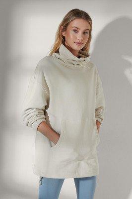 NA-KD Flow NA-KD Flow Organisch Sweatshirt Met Trekkoord Bij De Hals - Offwhite