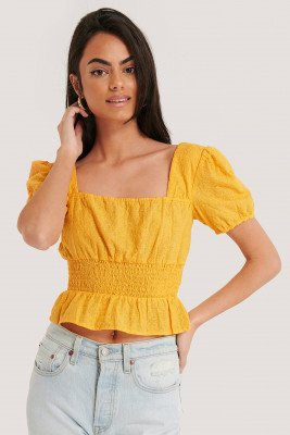 NA-KD Boho NA-KD Boho Cropped Blouse Met Vierkante Hals - Yellow