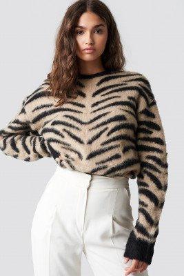 NA-KD NA-KD Brushed Zebra Knitted Sweater - Beige