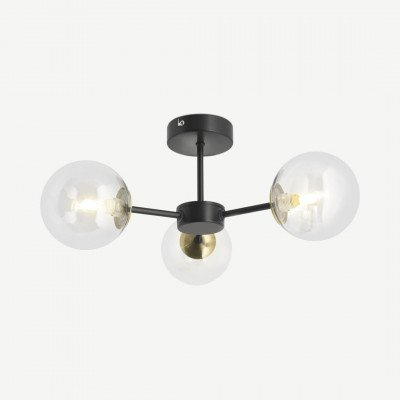 MADE.COM Globe badkamer hanglamp, zwart antiek messing en licht rookglas