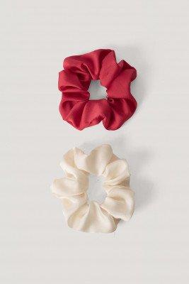 NA-KD Accessories 2-Pack Glowy Scrunchies - Pink,White