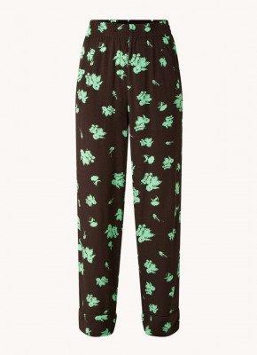 Ganni Ganni High waist straight fit pantalon met steekzakken en bloemenprint