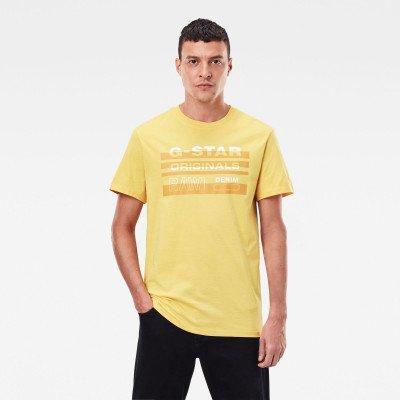 G-Star RAW Originals Stripe Logo T-Shirt - Geel - Heren